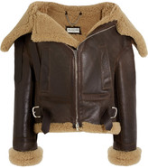 Balenciaga Swing Bombardier Oversized Shearling Jacket - Dark brown