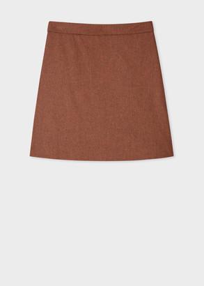 Paul Smith Women's Rust Houndstooth Wool-Blend A-Line Skirt