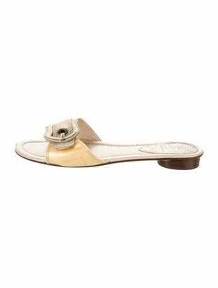 Fendi Leather Buckle Sandals Yellow