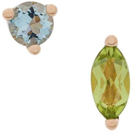 Delfina Delettrez 18kt gold Dots Solitaire peridot and aquamarine earrings