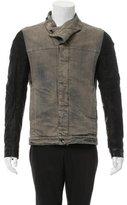 Rick Owens Leather-trimmed Distressed Denim Jacket