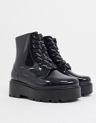 ASOS DESIGN CIRCULAR Generate lace up wellie boots in black