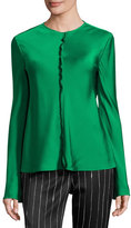 DKNY Long-Sleeve Stretch Satin Top, Viridian