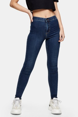 Topshop Womens Authentic Blue Joni Jeans - Dirty Denim