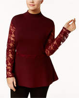 INC International Concepts I.n.c. Plus Size Lace Peplum Sweater, Created for Macy's