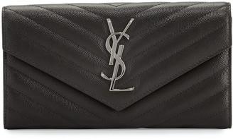 Saint Laurent Monogram Leather Medium Flap Continental Wallet, Black