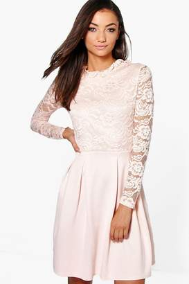 boohoo Tall Lace Panel Skater Dress