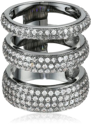 Noir Three Circle Clear Cubic Zirconia Ring Size 8