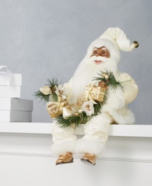 Holiday Lane African American Sitting Santa in Ivory with Christmas Garland, Created for Macy's