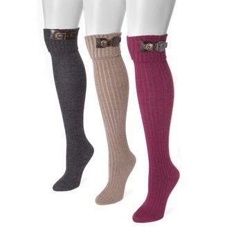Muk Luks Women's 3 Pair Buckle Cuff Over the Knee Socks