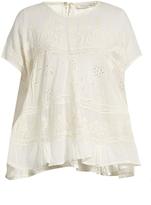 Mes Demoiselles Vicomte broiderie-angalise cotton top