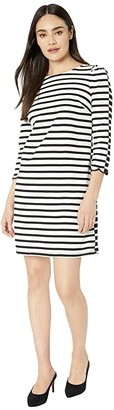 Kate Spade Sailing Stripe Scallop Dress (French Cream) Women's Dress