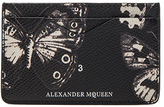 Alexander McQueen Victorian Moth Card Holder in Black