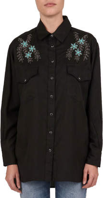 The Kooples Floral Embroidered Long-Sleeve Shirt