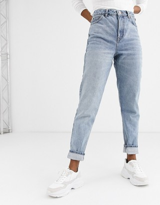 Topshop mom jeans in bleach wash
