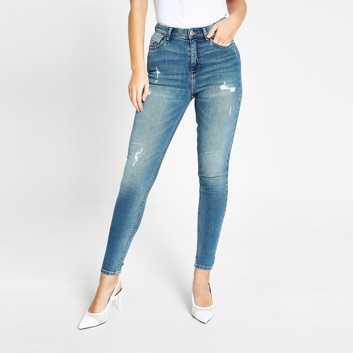 Thumbnail for your product : River Island Womens Blue ripped high waisted skinny jeans