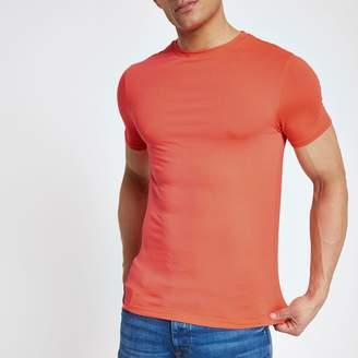 River Island Mens Bright Orange muscle fit crew neck T-shirt