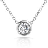 Kobelli Jewelry 14K White Gold and Diamond Solitaire Pendant Necklace