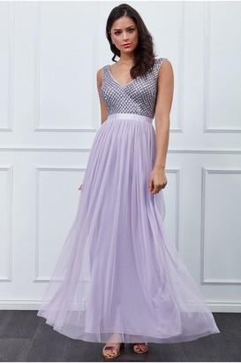 Goddiva Lavender Sequin Bodice Pleated Maxi Dress