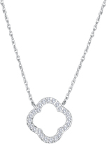 Carina 1/4 CT TW Diamond 14K White Gold Clover-Shaped Necklace