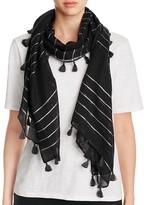 Eileen Fisher Metallic Stripe Tassel Scarf