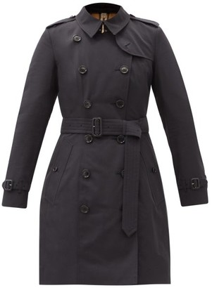 Burberry Chelsea Double-breasted Gabardine Trench Coat - Navy