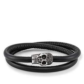 Thomas Sabo Unisex Leather Strap Skull pavé Leather Bracelet 925 Sterling Silver, Blackened, Smooth Double Black Nappa Leather UB0009-835-11
