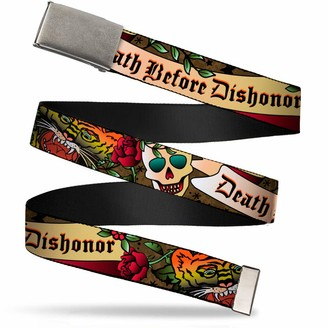 """Buckle Down Buckle-Down Web Belt Death Before Dishonor Tattoo 1.5"""""""