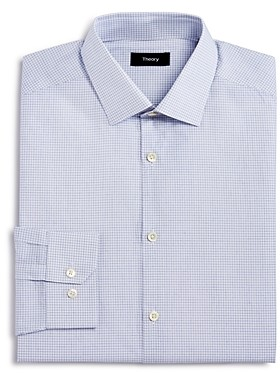 Theory Small Grid Slim Fit Long Sleeve Dress Shirt