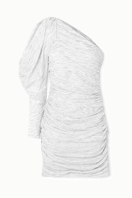 Redemption One-sleeve Ruched Glittered Zebra-print Silk-blend Mini Dress - White
