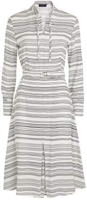 Piazza Sempione Stripe Tie-Neck Dress
