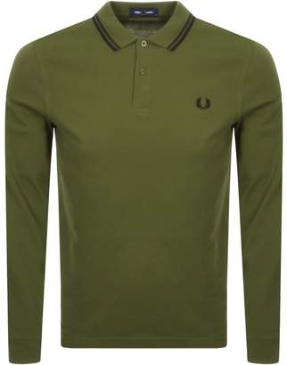 Fred Perry Twin Tipped Long Sleeve Polo Green