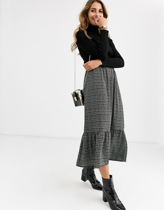Vero Moda Aware checked midi skirt