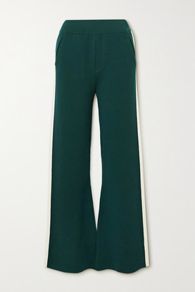 Cordova Striped Merino Wool-blend Bootcut Track Pants - Dark green
