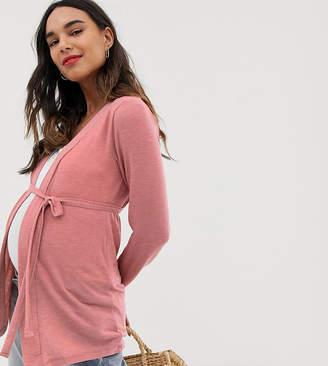Mama Licious Mamalicious long sleeve cardigan-Pink