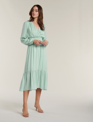 Forever New Eloise Long-Sleeve Tiered Midi Dress - Pale Sage - 12