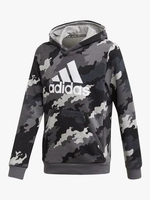 adidas Boys' Logo Camo Hoodie, Grey