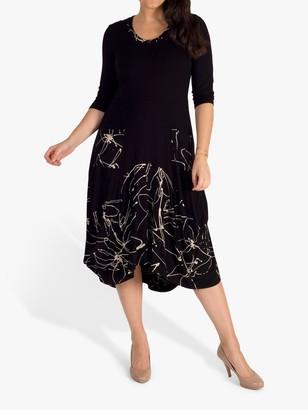 Chesca Pocket Drape Dress, Black