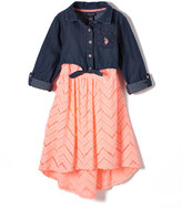 U.S. Polo Assn. Peach Lace & Denim Layered Dress - Girls