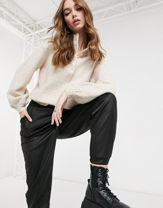 ASOS DESIGN sweater with button placket detail in oatmeal