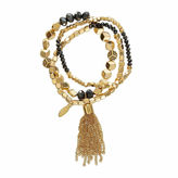 Natasha Accessories Natasha Gold-Tone Tassel Stretch Bracelet
