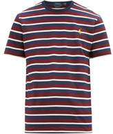 Polo Ralph Lauren - Logo Embroidered Striped Cotton Jersey T Shirt - Mens - Burgundy
