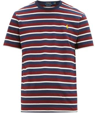 Polo Ralph Lauren Logo Embroidered Striped Cotton Jersey T Shirt - Mens - Burgundy