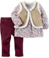 Carter's 3-Pc. Faux-Suede Vest, Top & Pants Set, Baby Girls