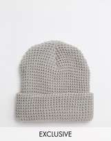 Reclaimed Vintage Waffle Knit Beanie In Grey