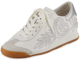 Ash Single Embroidered Leather Sneaker, Off White/White