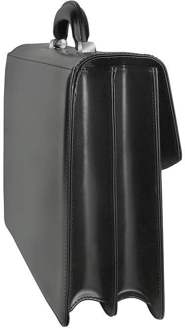 Pineider 1949 - Black Calfskin Double Gusset Briefcase