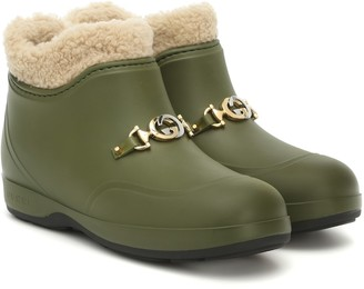 Gucci Faux shearling rubber ankle boots