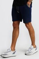 boohoo Mens Navy Mid Length Jersey Shorts With MAN Draw Cords, Navy