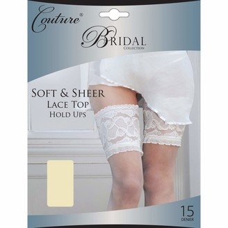 """Couture Womens/Ladies Bridal Soft & Sheer Lace Top Hold Ups (1 Pair) (Medium (5ft-5ft8"""")) (Ivory)"""